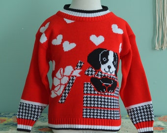 Vintage 90s Kid's Sweater Puppy Dog in a Gift Box KT Kemple Girl's Size 5/6 Red Pullover
