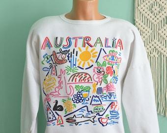 Vintage 80s Sweatshirt Ken Done AUSTRALIA Down Under Pop Art Tourist Souvenir Large Pullover