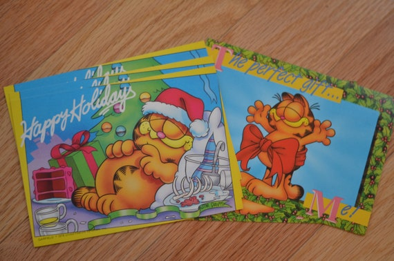 Garfield Christmas.Vintage 80s Garfield Christmas Postcards Lot Of 5 Unused Unmarked Cards Jim Davis