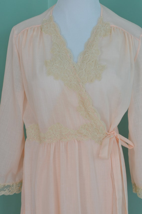 7a1d9c242a Vintage 1960s Women s Sheer Peach Apricot Robe With Lace