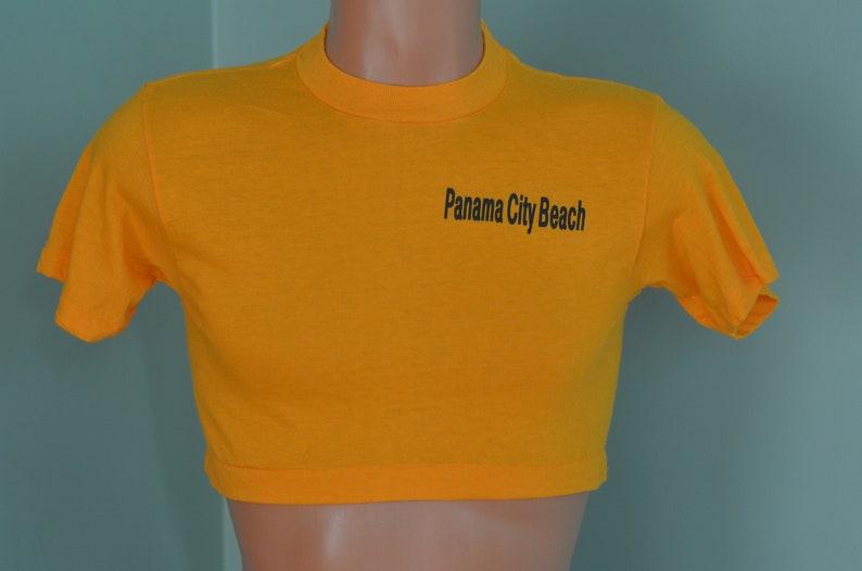 7e6425a089487 80s T-Shirt Crop Top Half Shirt Panama City Beach Florida Golden Yellow  Medium Tee Tourist Souvenir