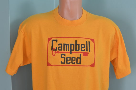 e48f5e6094f3b 80s T-Shirt Campbell Seed Farming Agriculture Large Golden Yellow Tee