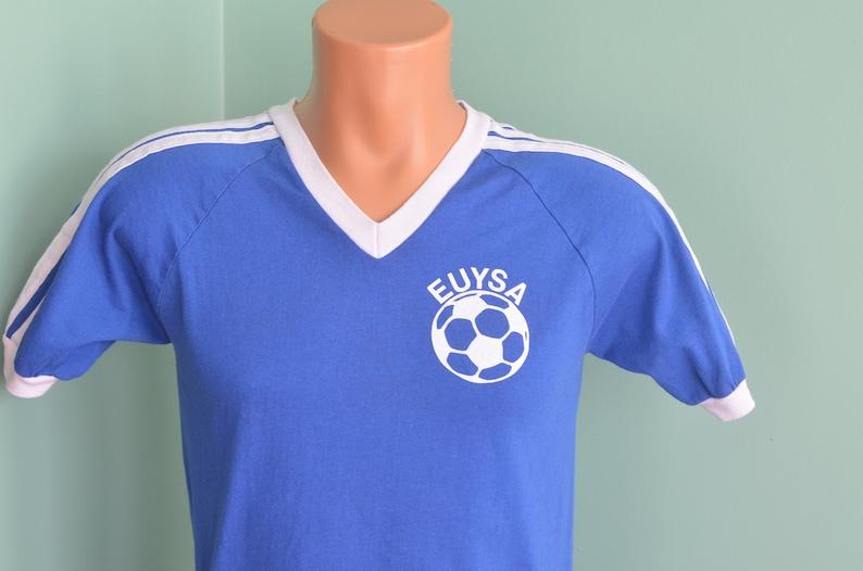 afbd6d513fc38 80s T-Shirt Soccer Shirt EUYSA Eagle Union Youth Soccer Association Bantam  Small Blue Tee