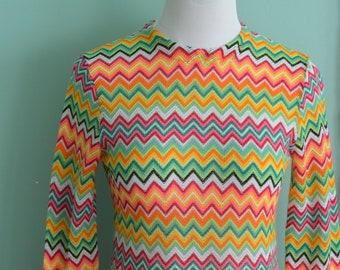 Vintage 70s Miss Holly Rainbow Psychedelic Chevron Zig Zag Blouse Vibrant Zippered Medium Top