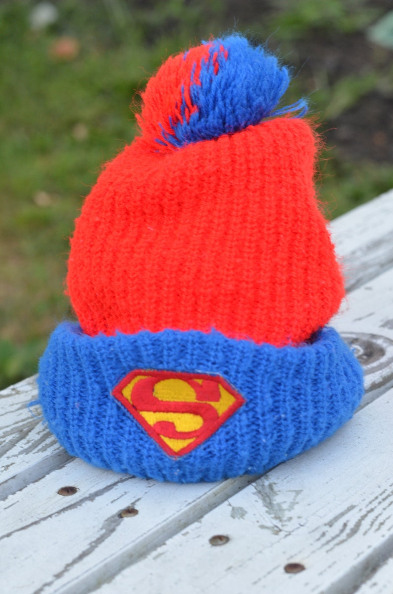 Vintage 70s Superman Knit Ski Pom Hat Beanie Winter Hat With  2114bc80946