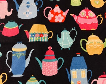 POLYCOTTON TEA POTS /& CUPS PATTERN FABRIC MATERIAL CRAFTS