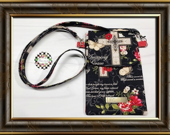 Amazing Grace themed Fabric Cell Phone ShoulderCrossbody Bag with roomy Outside Pocket Perfect Gift Idea