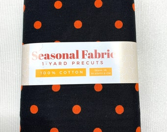 "NEW ITEM……..1 yard Pre Cut 44"" Wide 100% Cotton Black with Orange Polka Dot Halloween themed Fabric."