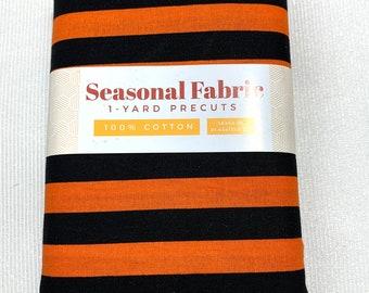 "NEW ITEM……..1 yard Pre Cut 44"" Wide 100% Cotton Black and Orange Halloween themed Stripe Fabric."