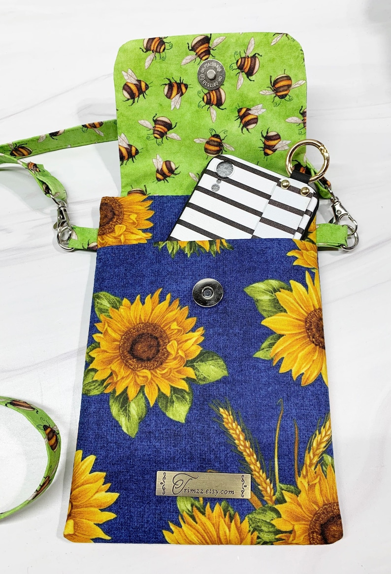 Padded Cell Phone Bumblebee /& Sunflower themed Fabric Crossbody Bag with roomy Outside Pocket and Magnetic Closure Perfect Gift Idea