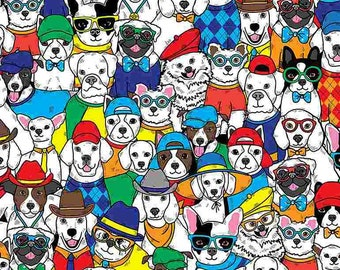 """NEW ITEM…….Packed Cartoon Dogs In Hats 1/2 yard 44"""" Wide 100% Cotton Fabric.  Canine"""