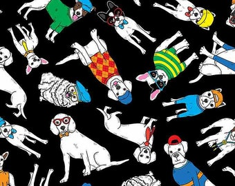 """NEW ITEM…….Tossed Cartoon Dogs In Hats 1/2 yard 44"""" Wide 100% Cotton Fabric.  Canine"""