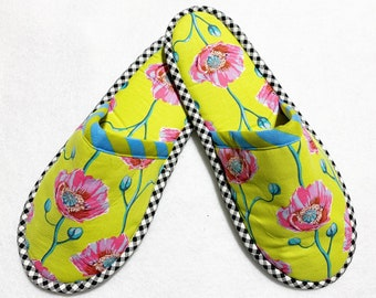 Anna Maria Horner Ladies Slippers Large Shoe Size 9/10 Padded Indoor Washable House Slippers.…Perfect Gift Idea! READY TO SHIP