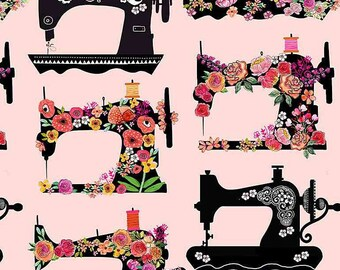 """NEW ITEM……..Floral Sewing Machines 1/2 yard 44"""" Wide 100% Cotton Fabric.  Sewing Seamstress quilting"""