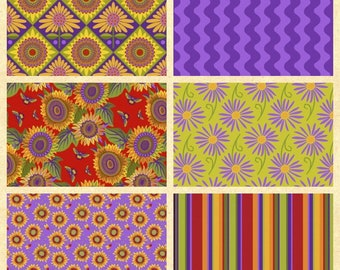 """NEE ITEM 6 Fat Quarters......Jane Sassman Mexican Tiles themed Fabrics with Each Fat Quarter being appx 21"""" wide x 18"""" tall and 100% Cotton."""