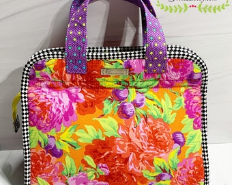 NEW ITEM……Whimsical Kaffe Fassett Floral Makers Tote Padded Handbag with 5 Inside Pockets and a Zippered Closure.
