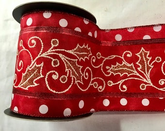 "4"" wide 5 yards of Gorgeous Mary Englebreit Holly Leaf and Polka Dot Taffeta Wired Edge Glittered Ribbon."