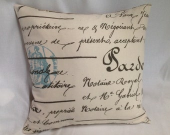 """INSTOCK......18"""" square Penmanship Pillow Cover with Burlap Back........New.....Invisible Zipper"""