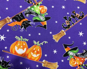 """Glow In The Dark Adorable Halloween Witches Themed  Fabric....1/2 yard of a 44"""" Wide 100% Cotton Fabric."""