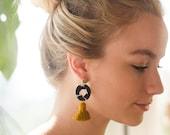 Ink blot Tassel Earrings, gift for her, bold earrings, statement earrings, boho jewelry, colorful earrings, bridesmaid gift, fall jewelry