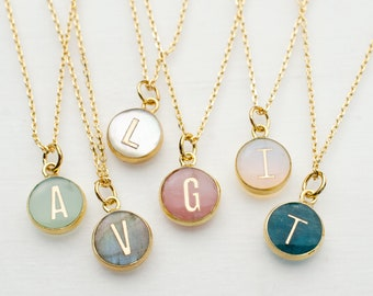 Tiny initial necklace, Personalized gemstone necklace, Anniversary necklace, bridesmaids gift, dainty initial, pearl initial necklace,