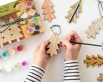 DIY Kit, ChristmasTree Ornament decor,Craft Kit, Holiday Kit, Handpainted tree, wooden trees, colorful holiday decor, Holiday craft project