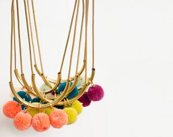Colorful pompom Necklace, gift for her, statement necklace, brass necklace, unique necklace, statement necklace