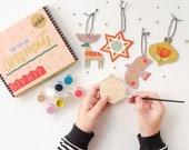 DIY Kit, Yuletide Christmas Tree Ornament Kit, Painting Craft Kit, DIY Holiday decor Holiday Kit, colorful holiday decor, Folk art
