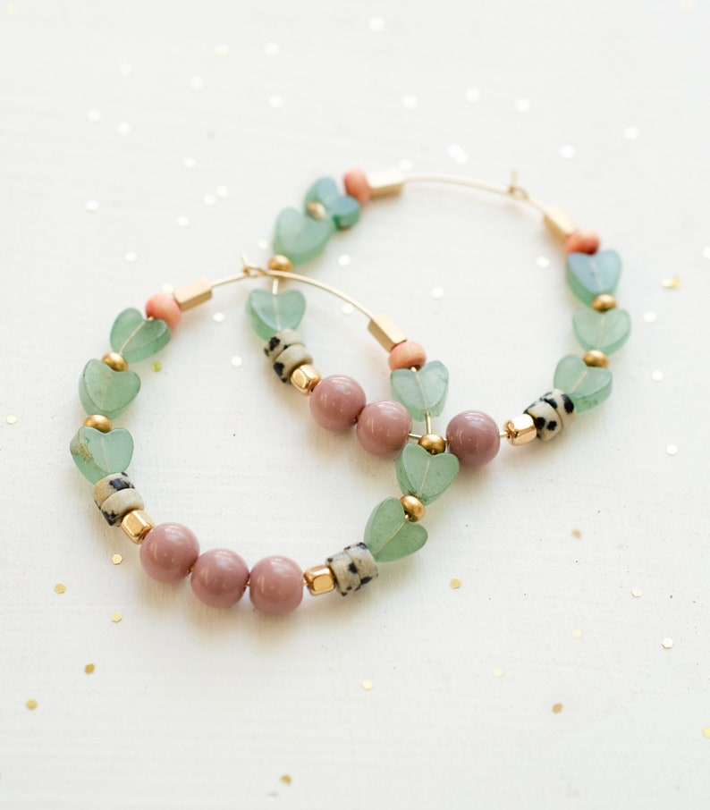 colorful jewelry gold hoop earrings jade hearts natural stone statement earrings gold filled mothers day gift Beaded heart hoops