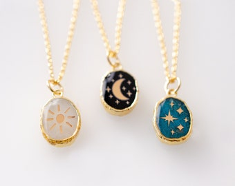 Celestial necklace, Gemstone jewelry, Sun Moon and stars ,astrology, moonstone, onyx  necklace, gold moon necklace, crescent necklace,