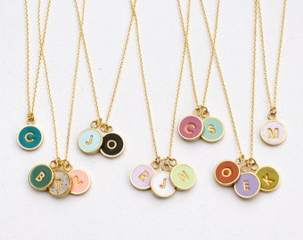 Round initial necklace, Anniversary gift, bridesmaid gift, mom necklace, initial necklace, custom necklace, friendship necklace