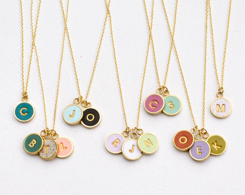Round initial necklace Anniversary gift bridesmaid gift mom image 0