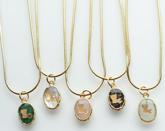 Louisiana gemstone necklace, state pendant, gemstone jewelry, gift for friend, dainty necklace,