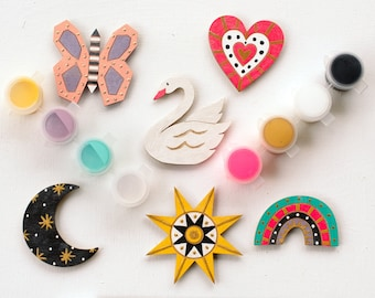 DIY Kit Paint Your Own Magnet kit, craft kit, party kit, stay at home craft, kids craft, diy painting kit, Whimsy Magnet Kit