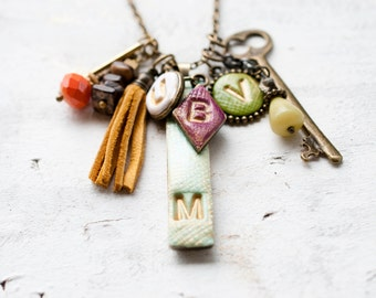 Personalized Initial Multi Charm Necklace- Any 4 initials, gift for her, mother's day gift