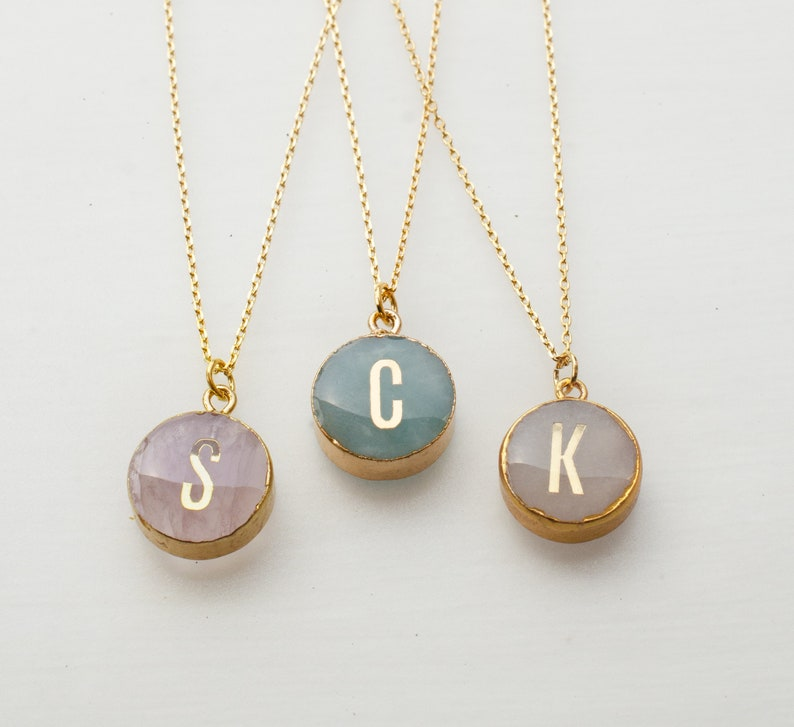 Natural stone initial necklace Anniversary gift bridesmaid image 0