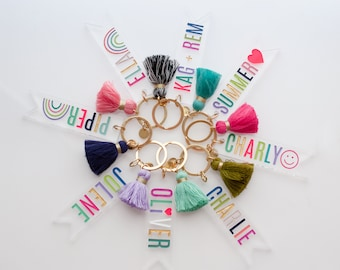 Personalized Name keychain, Custom Tassel Clear keychain, back to school keychain, bridesmaid gifts, personalized gift, teachers gift