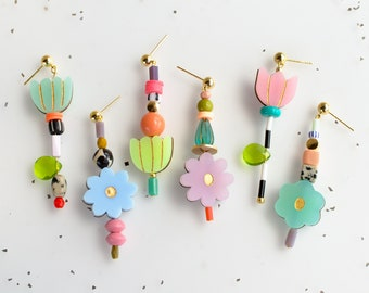 Flower beaded statement earrings, mix and match earrings, colorful dangle earrings, acrylic jewelry, multicolor, gift for her