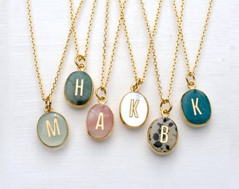 Oval Initial Gemstone Necklace, necklaces with initial, monogram necklace, bridesmaid gift, stone necklace, natural stone necklace, oval