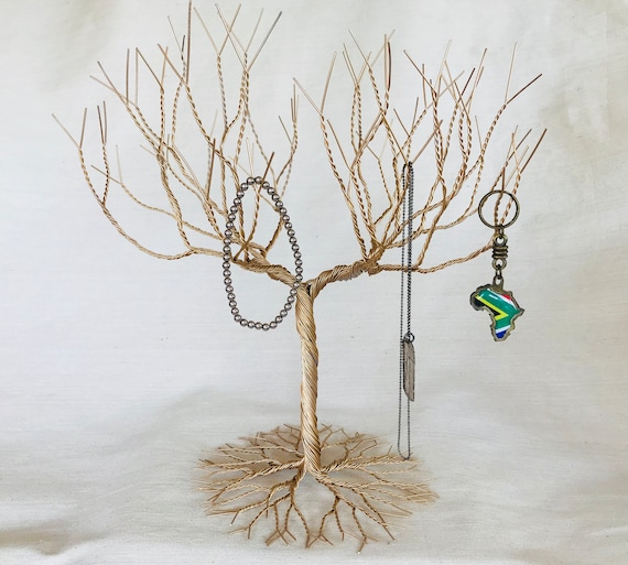 Gold Jewelry Tree Stand Jewelry Holder Organizer Tall For Etsy