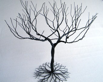Black large Jewelry Tree Stand,  wire tree sculpture.  perfect for necklaces , earrings ,  rings , etc.  display holder tree , organizer. #1