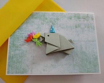 Origami flower card etsy elephant birthday card origami pop up card handmade elephant card pop up card funny girlfriend card flower card mightylinksfo