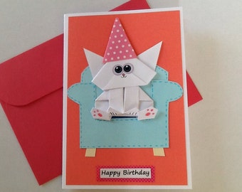 Origami Cat Card Etsy