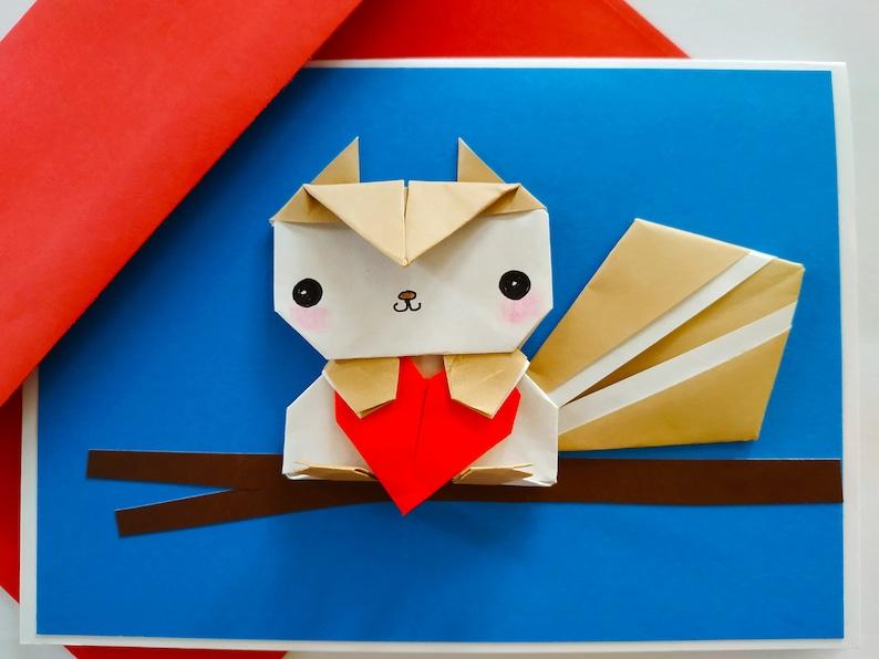 personalised squirrel origami birthday card valentine card