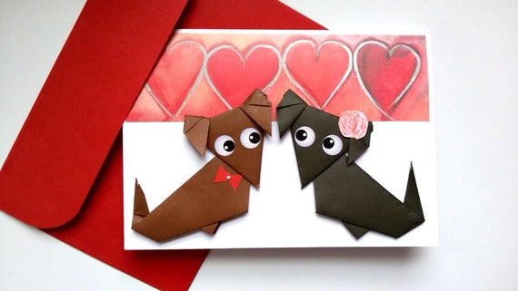 Doxie Wedding Card Sausage Dog Origami Dachshund Card Etsy