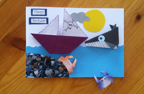 Whale Birthday Card Pirate Ship Card Boy Adjustable Origami Etsy