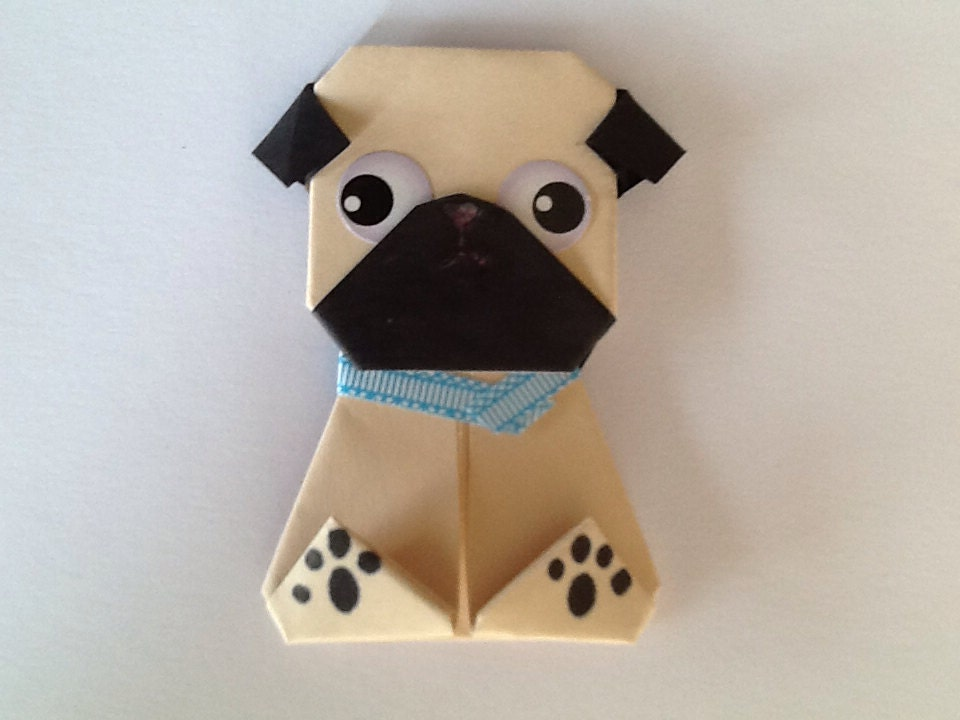Cute Pug Magnet Paper Origami Dog Magnet Light Origami Pug Etsy