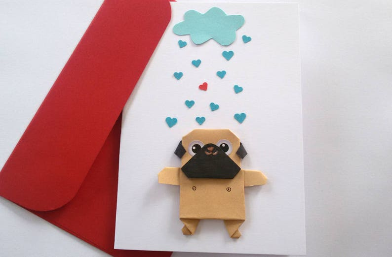 Pug Origami Love Card Birthday Greeting Be Mine Funny