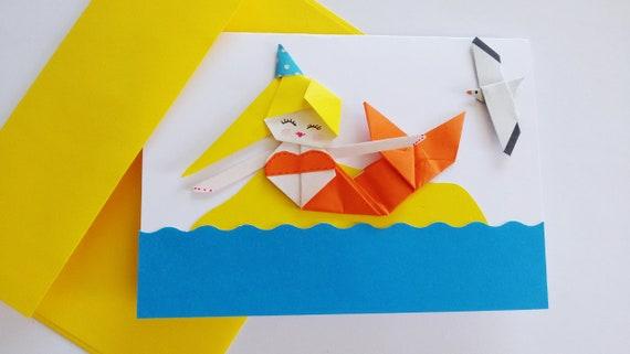 Handmade Mermaid Birthday Card Origami Paper Mermaid 3d Card Etsy
