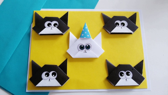 Birthday cat card handmade funny origami greeting cards etsy image 0 m4hsunfo